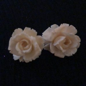 Vintage Celluloid cream colored earrings c1920